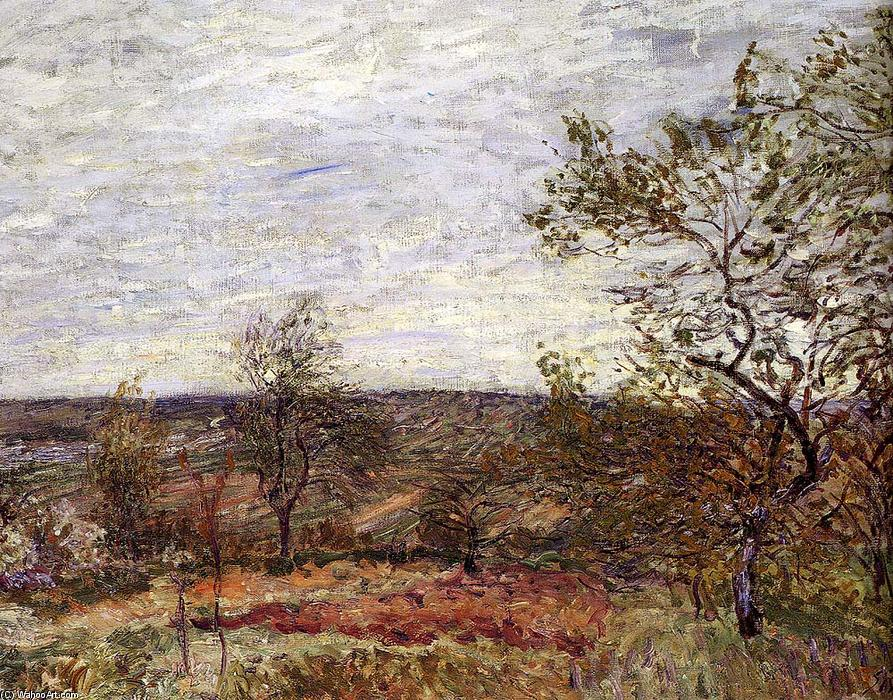 Windy Day At Veneux, Oil On Canvas by Alfred Sisley (1839-1899, France)