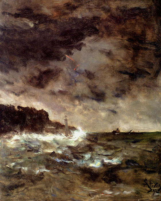 Buy Museum Art Reproductions | A Stormy Night by Alfred Émile Léopold Stevens (1823-1906) | WahooArt.com