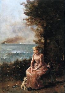 Alfred Stevens - A Young Girl Seated by a Tree