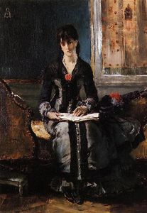 Alfred Stevens - Portrait of a Young Woman