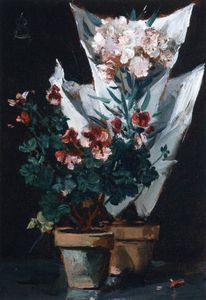 Alfred Stevens - Still Life wit Potted Geraniums