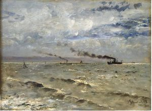 Alfred Stevens - The Sea with Ships