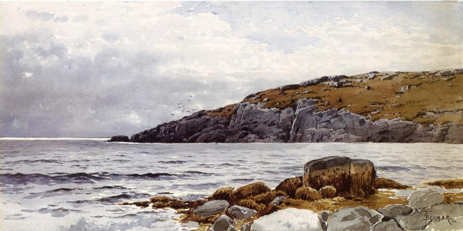 Rocky Coastline by Alfred Thompson Bricher (1837-1908, United States) | Famous Paintings Reproductions | WahooArt.com