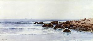 Alfred Thompson Bricher - Sailboats off a Rocky Coast