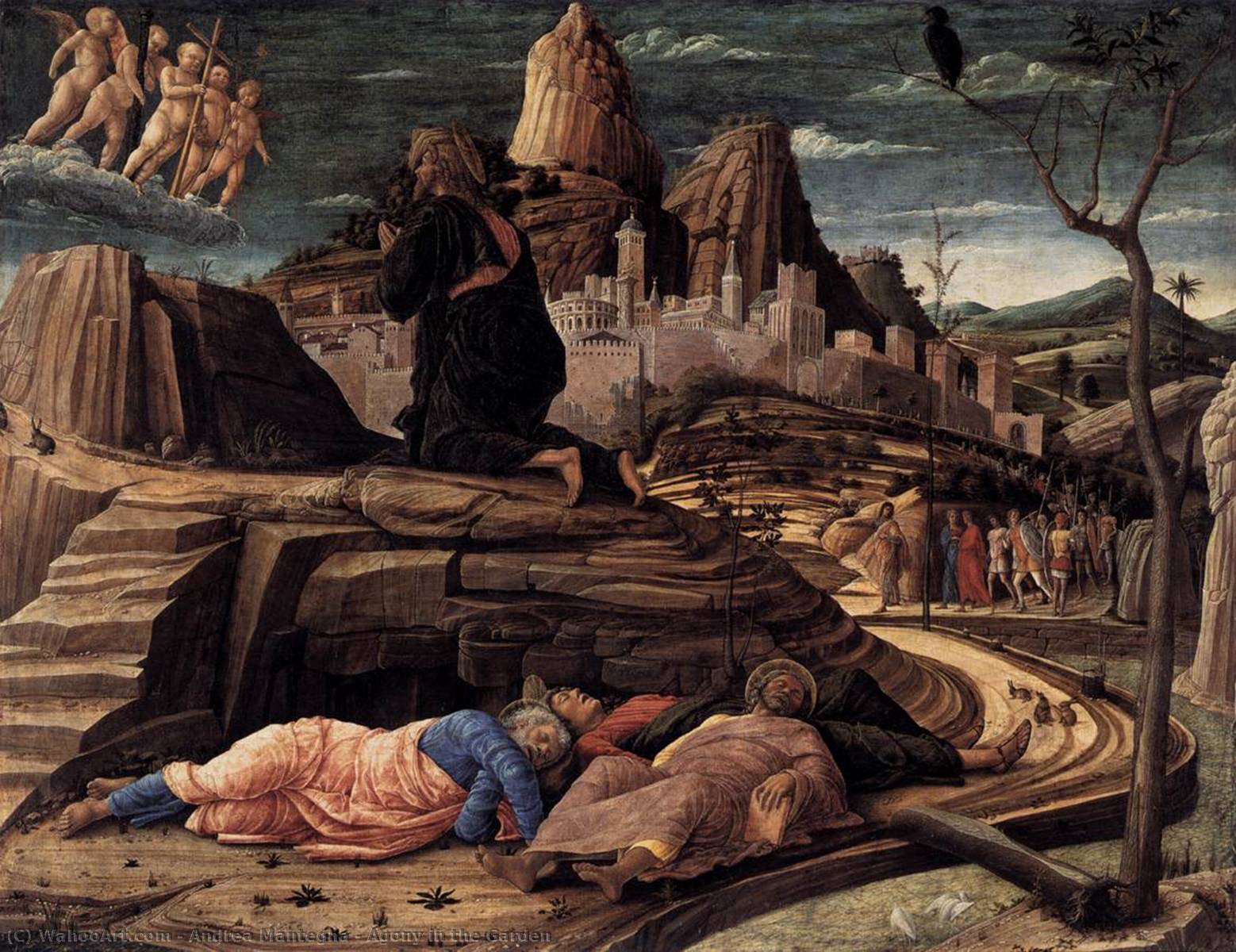 Agony in the Garden, Tempera by Andrea Mantegna (1431-1506, Now Italy)