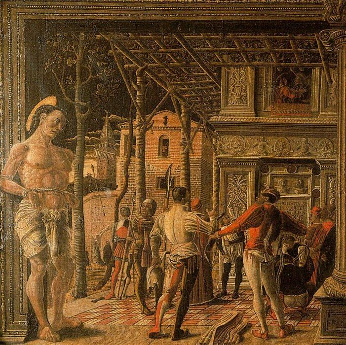 Martyrdom of St Christopher and Removal of his Body, Frescoes by Andrea Mantegna (1431-1506, Italy)