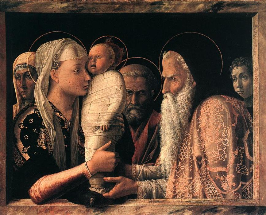 Presentation at the Temple, Tempera by Andrea Mantegna (1431-1506, Now Italy)