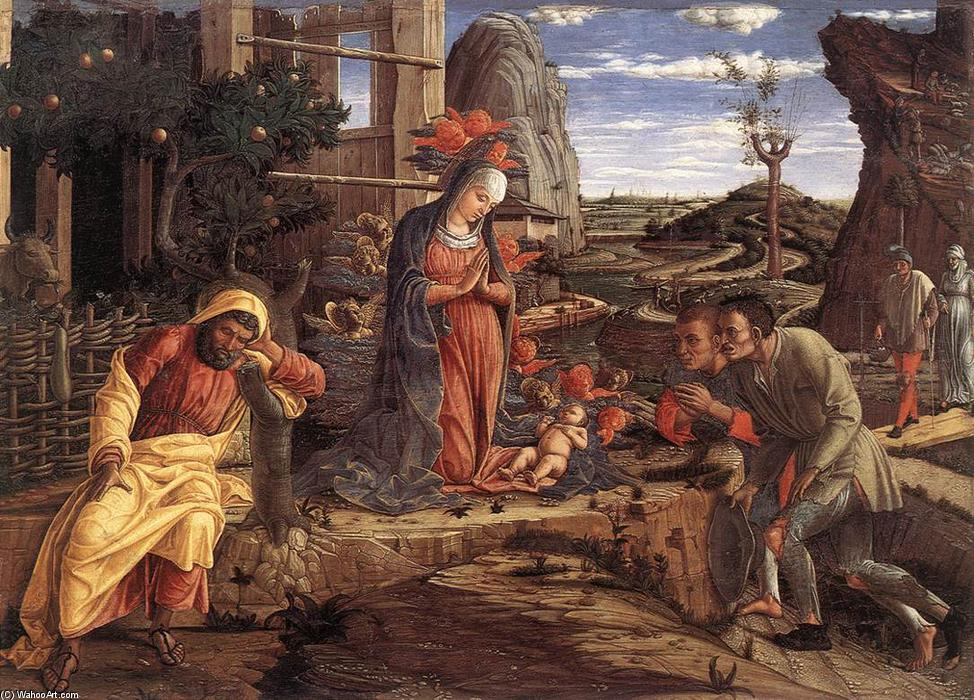 The Adoration of the Shepherds, Tempera by Andrea Mantegna (1431-1506, Italy)