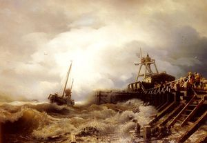 Andreas Achenbach - A Fishing Boat Caught In A Squall Off A Jetty