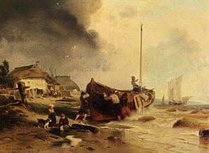 Andreas Achenbach - A Fishingboat On The Beach