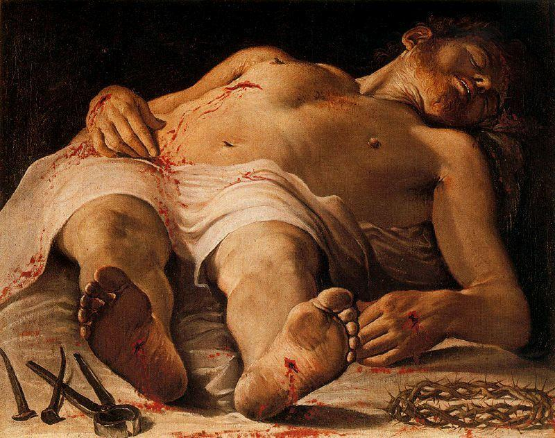 Dead Christ, Oil by Annibale Carracci (1560-1609, Italy)