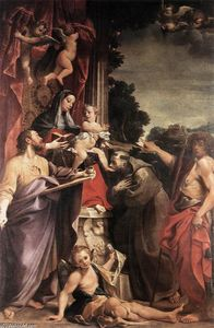 Annibale Carracci - Madonna Enthroned with St Matthew