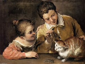 Annibale Carracci - Two Children Teasing a Cat