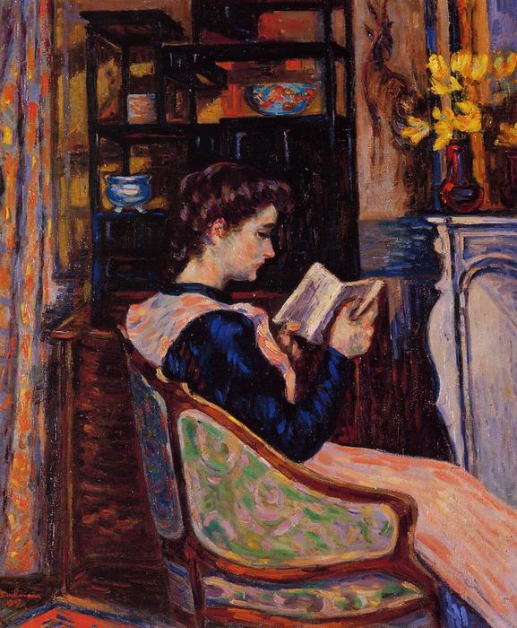Mademoiselle Guillaumin Reading, 1907 by Jean Baptiste Armand Guillaumin (1841-1927, France) | Painting Copy | WahooArt.com