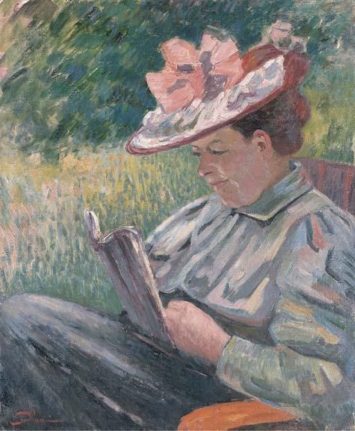 Mme Guillaumin lisant dans le jardin by Jean Baptiste Armand Guillaumin (1841-1927, France) | Art Reproduction | WahooArt.com