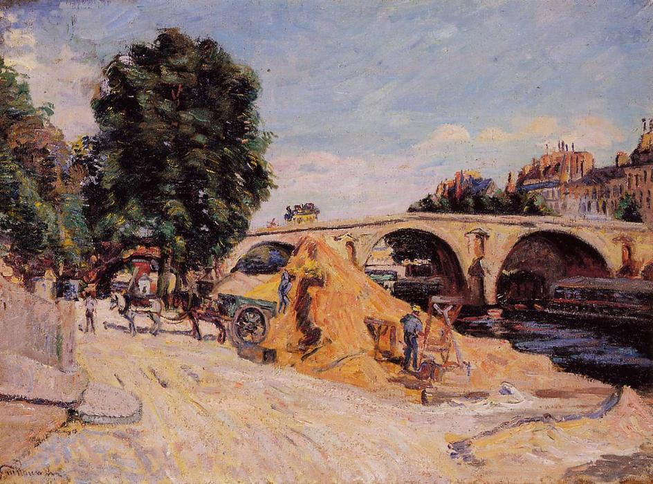 Pont Marie from the Quai d'Anjou, Oil On Canvas by Jean Baptiste Armand Guillaumin (1841-1927, France)