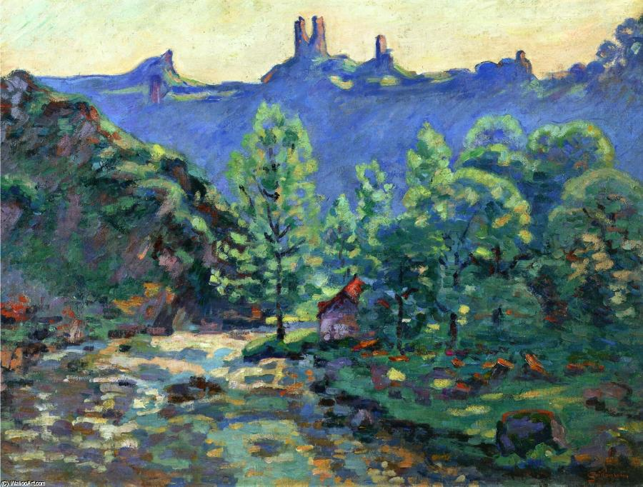 The Moulin Brigand, Ruins of Chateau de Crozant, 1900 by Jean Baptiste Armand Guillaumin (1841-1927, France) | Painting Copy | WahooArt.com