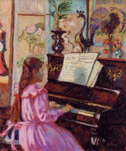 Buy Museum Art Reproductions | Young Girl at the Piano, 1910 by Jean Baptiste Armand Guillaumin (1841-1927, France) | WahooArt.com