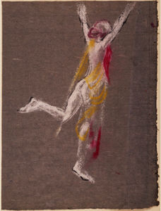 Arthur Bowen Davies - Drawing of a Female Figure (One of a Group of Tree Gestures)