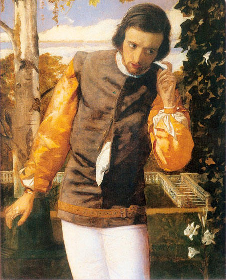 Benedick in the Arbor by Arthur Hughes (1832-1915, United Kingdom) | Famous Paintings Reproductions | WahooArt.com