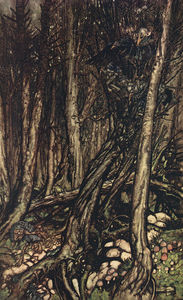 Arthur Rackham - At the back of the little tonge of land, there lay a fearsome forest right perilous to traverse