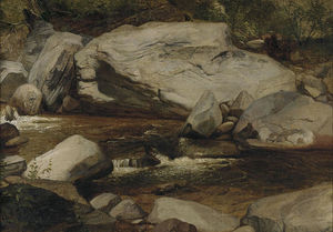 Asher Brown Durand - Landscape. Creek and Rocks