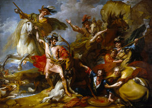 Benjamin West - Alexander III of Scotland Rescued from the Fury of a Stag by the Intrepidity of Colin Fitzgerald (-The Death of the Stag-)