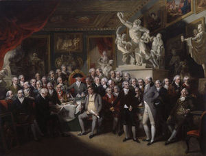 Benjamin West - The Royal Academicians in the General Assembly by Henry Singleton
