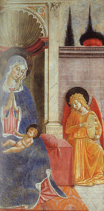 Madonna and Child with Angel Playing Music by Benozzo Gozzoli (1420-1497, Italy) | Oil Painting | WahooArt.com