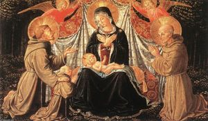 Benozzo Gozzoli - Madonna and Child with Sts Francis and Bernardine, and Fra Jacopo