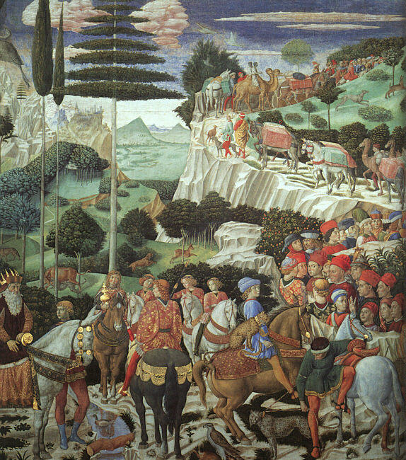 Procession of the Magus Melchoir by Benozzo Gozzoli (1420-1497, Italy) | Famous Paintings Reproductions | WahooArt.com