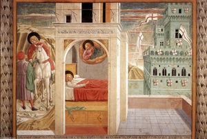 Benozzo Gozzoli - Scenes from the Life of St Francis (Scene 2, north wall)