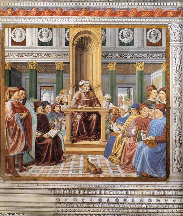St Augustine Teaching in Rome (scene 6, south wall), 1464 by Benozzo Gozzoli (1420-1497, Italy) | Art Reproduction | WahooArt.com