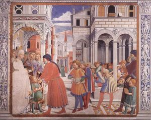 Benozzo Gozzoli - The School of Tagaste (scene 1, north wall)