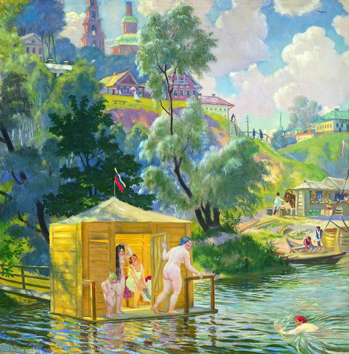 Buy Museum Art Reproductions | Bathing by Boris Mikhaylovich Kustodiev (1878-1927, Russia) | WahooArt.com