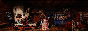 Boris Mikhaylovich Kustodiev - Inside the tavern, set design for 'The power of the enemy'