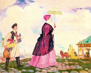 Boris Mikhaylovich Kustodiev - Merchant's Wife with Purchases