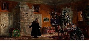 Boris Mikhaylovich Kustodiev - Set design for 'The power of the enemy'
