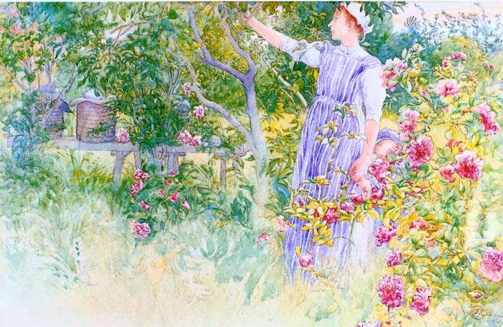 Beehives And Roses by Carl Larsson (1853-1919, Sweden) | Museum Art Reproductions Carl Larsson | WahooArt.com