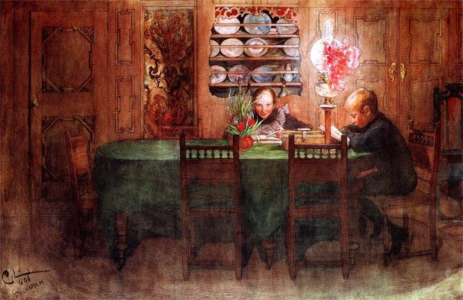 Домашнее задание, масло по Карл Ларссон (1853-1919, Швеция)