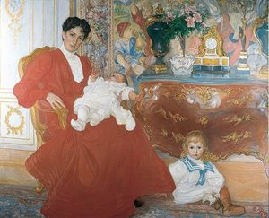 Carl Larsson - Mrs Dora Lamm and Her Two Eldest Sons