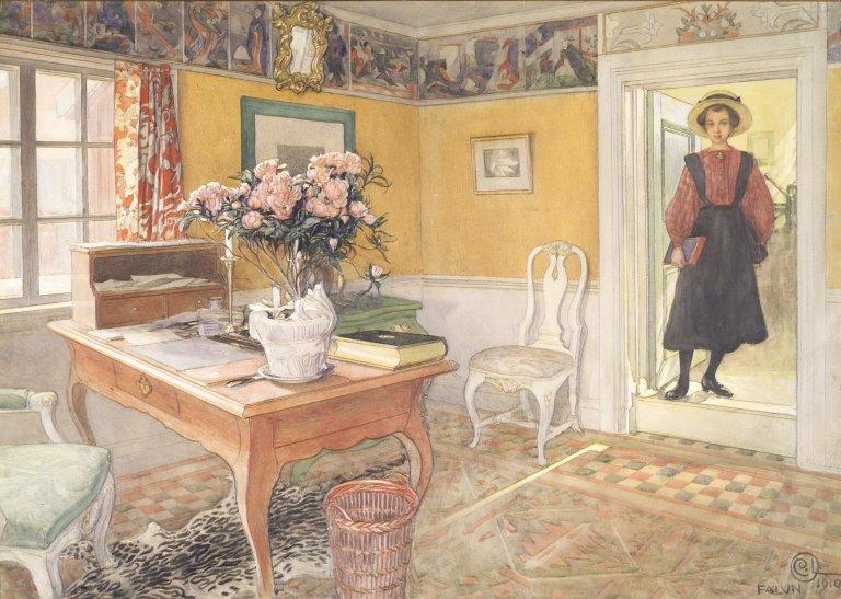 School Girl in an Interior by Carl Larsson (1853-1919, Sweden) | Paintings Reproductions Carl Larsson | WahooArt.com