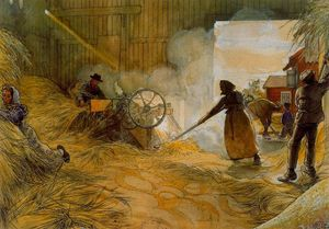 Carl Larsson - Threshing Grain