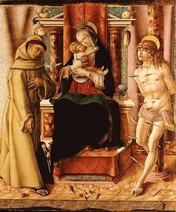 Carlo Crivelli - The Madonna Enthroned with Child, San Francisc and San Sebastian