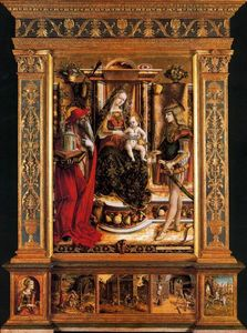 Carlo Crivelli - The Virgin and Child with Saint Jerome and Saint Sebastian