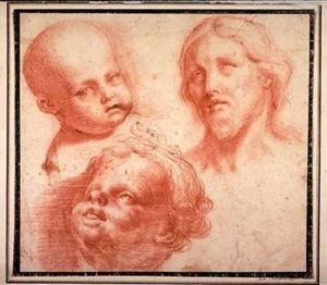 Carlo Maratta - Studies of Heads (Head of Christ and Two Putti)