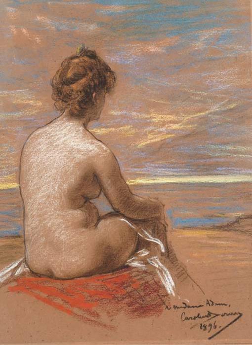 Femme Nue De Dos une femme nue assise vue de dos regardant la mercarolus-duran