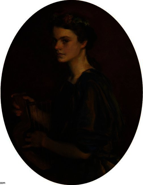 GIRL WITH LYRE (PORTRAIT OF DOROTHEA GILDER) by Cecilia Beaux (1855-1942, United States) | Art Reproduction | WahooArt.com