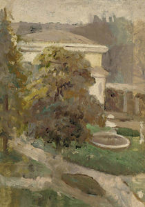 Landscape with Villa and Fountain, Oil by Cecilia Beaux  (buy Fine Art Framed Print Cecilia Beaux)