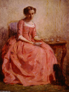 Charles Chaplin - Girl in a Pink Dress Reading, with a Dog